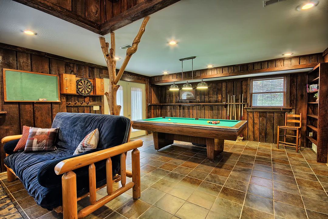 Two Trees Cabin game room.