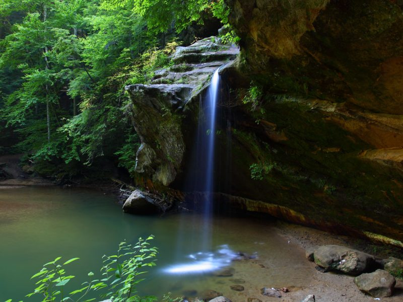Photo of Old Man's Cave lower waterfalls.