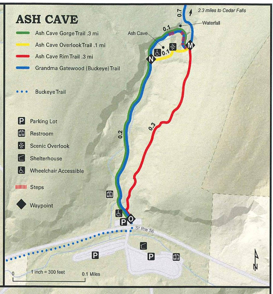 Ash Cave trail map.