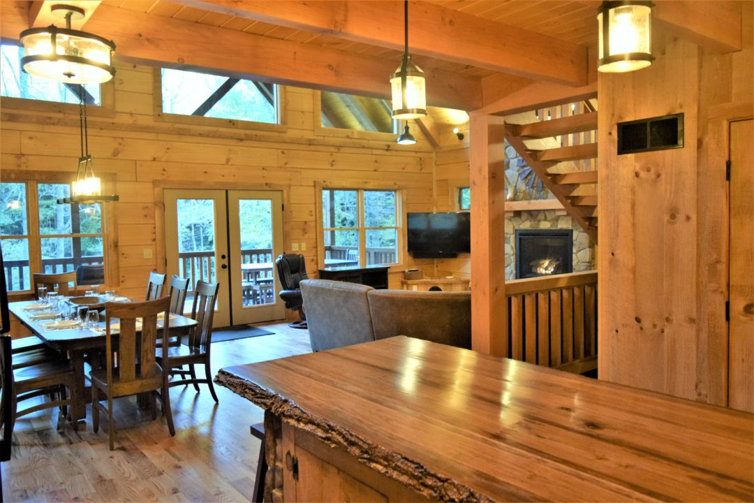 Photo of kitchen view to living room Rock Hollow Cabin